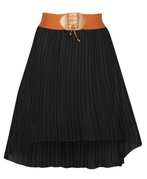 Black Hi Low Pleated Skirt