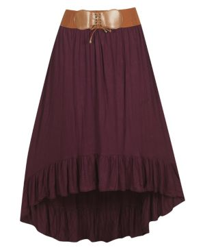 Plum Belted Hi-Low Skirt