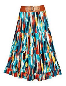 Blue Tiered Maxi Skirt by Meetu Magic