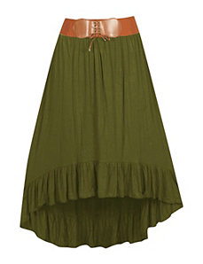 Olive Belted Hi-Low Skirt by Meetu Magic