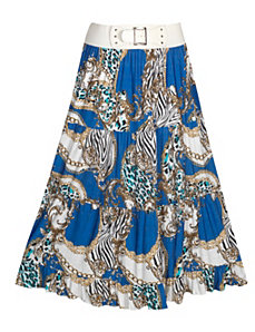 Blue Animal Print Maxi Skirt by Meetu Magic