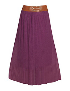 Plum Pleated Maxi Skirt by Meetu Magic