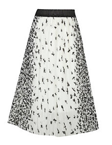 White Mirror Print Full Skirt by Meetu Magic