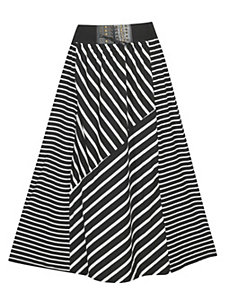 Black Stripe Maxi Skirt by Meetu Magic