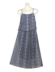 Pleated Print Maxi Dress