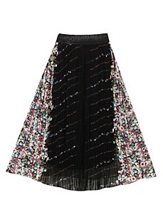 Bold Black Mirror Print Maxi Skirt by Meetu Magic