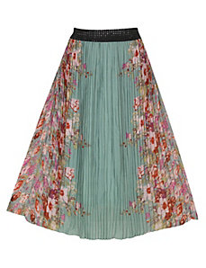 Green Mirror Print Maxi Skirt by Meetu Magic