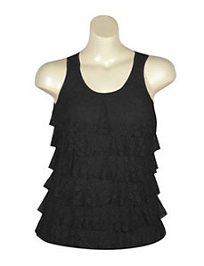 Black Tiered Lace Tank by Just One