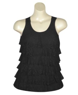 Black Tiered Lace Tank
