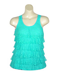 Turquoise Tiered Lace Tank by Just One