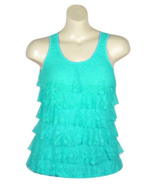 Turquoise Tiered Lace Tank