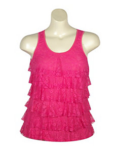 Fuchsia Tiered Lace Tank by Just One