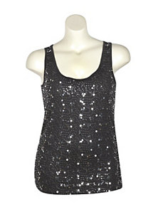Black Sequin Tank by Just One