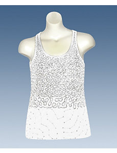 White Squiggle Sequin Tank by Just One