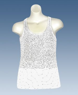 White Squiggle Sequin Tank
