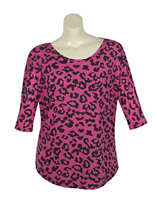 Fuchsia Animal Lace Top by Just One