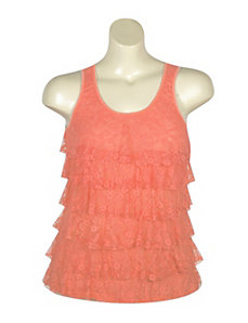 Coral Tiered Lace Tank by Just One