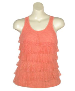 Coral Tiered Lace Tank