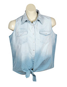 Dip Dye Denim Shirt by Just One