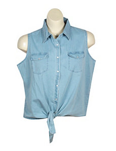 Tie Front Denim Shirt by Just One