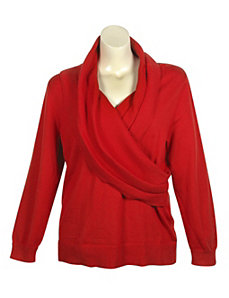 Red Shawl Collar Sweater by Pierri