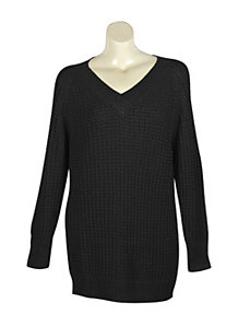 Black Metallic V-Neck Sweater by Pierri