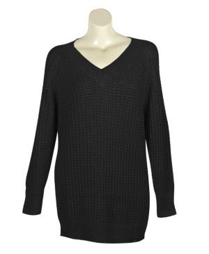 Black Metallic V-Neck Sweater