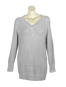 Silver Metallic V-Neck Sweater by Pierri