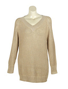 Gold Metallic V-Neck Sweater by Pierri