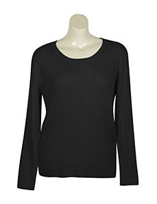 Black Crew Neck Cable Sweater by Pierri