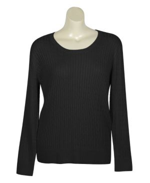 Black Crew Neck Cable Sweater