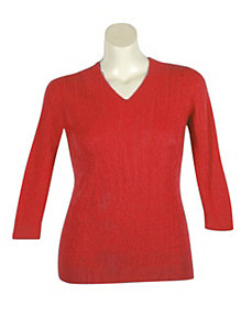Red V-Neck Cable Sweater by Pierri