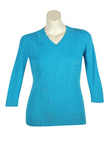 Blue V-Neck Cable Sweater by Pierri