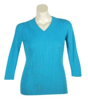 Blue V-Neck Cable Sweater