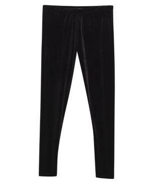Black Slim Leg Velvet Pant