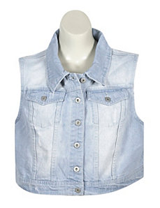 Frayed Bleach Denim Vest by Elite Jeans