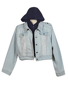 Denim Jacket with Fleece Hood by Therapy