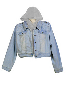 Blue Denim Jacket with Fleece Hood by Therapy