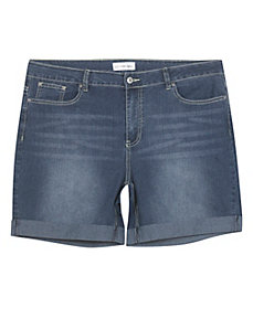 Cuffed Denim Shorts by Creative Looks