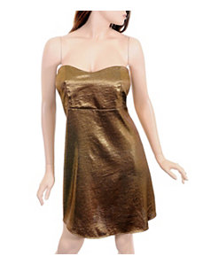 Gold Metallic Strapless Dress by alight