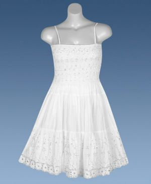 White Jewels Smock Dress