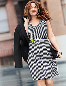 Textured stripe fit  & flare dress