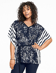 Mixed print belted drama top