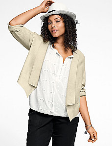 Stretch linen flyaway jacket