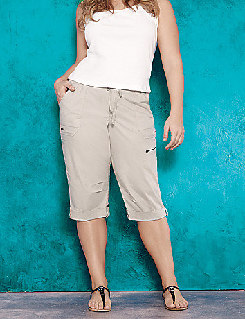 Knit waistband cargo capri by Lane Bryant