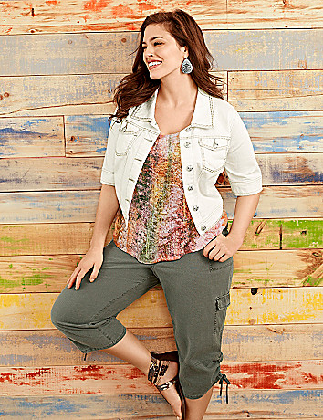 Short sleeve cropped denim jacket by Lane Bryant