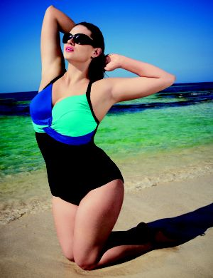 Colorblock swim tank with plunge bra
