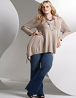 Sharkbite sweater, flare jegging, necklaces