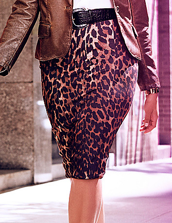 Animal print mid length pencil skirt by Lane Bryant