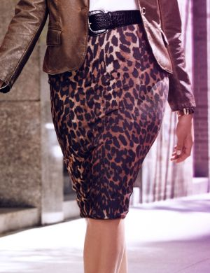 Animal print mid length pencil skirt